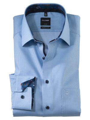 Camicia modern fit olymp a quadretti celeste chiaro