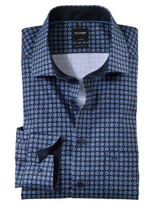 Olymp modern fit shirt patterned blue in printed cotton