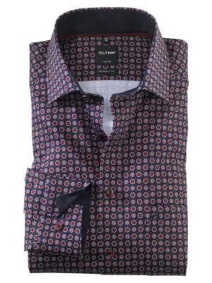 Olymp modern fit shirt patterned in printed cotton border color