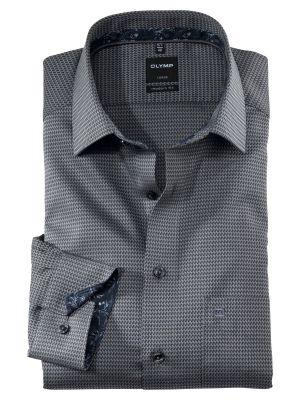 Camicia olymp grigio micro fantasia modern fit cotone facile stiro