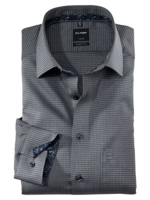 Shirt olymp gray micro fancy modern fit cotton easy ironing