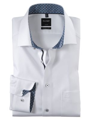 Camicia olymp bianca in cotone twill modern fit