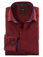 Shirt olymp burgundy micro fancy modern fit cotton easy ironing