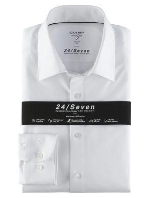 Camicia olymp level five in jersey bianca slim fit