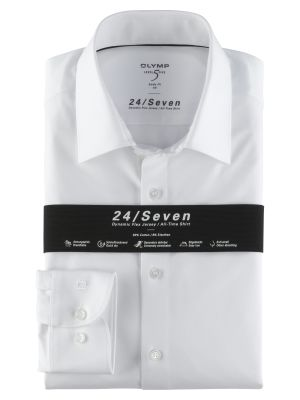 Olymp level five shirt in white slim fit jersey