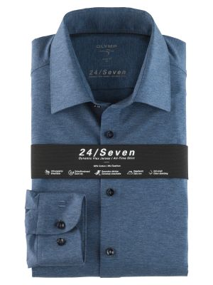 Olymp level five shirt in slim fit blue jersey