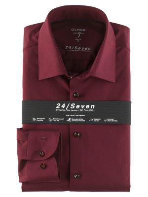 Olymp level five shirt in slim fit bordeaux jersey