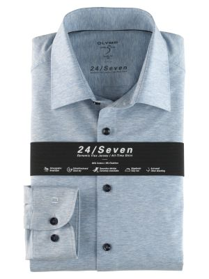 Olymp level five shirt in slim fit sky blue jersey