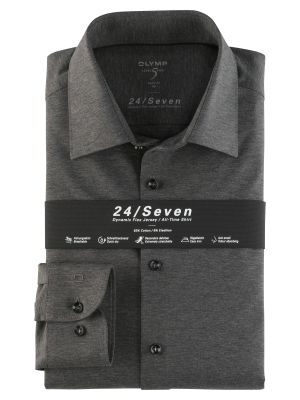 Olymp level five shirt in dark grey slim fit jersey