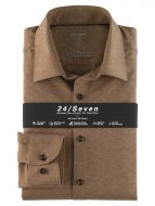 Camicia olymp level five in jersey marrone slim fit