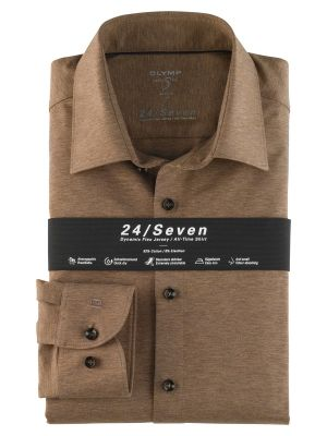 Olymp level five shirt in slim fit brown jersey