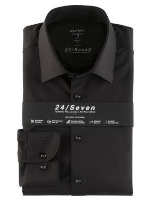 Olymp level five shirt in black slim fit jersey
