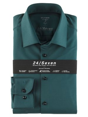 Olymp level five shirt in slim fit green jersey