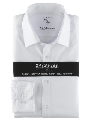 Super slim fit white jersey olymp shirt