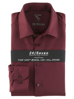 Camicia olymp in jersey bordeaux super slim fit