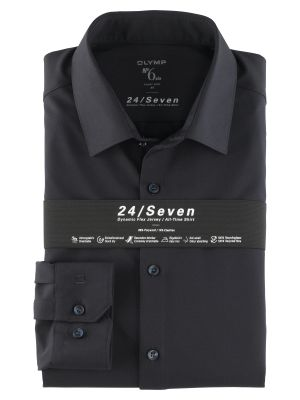 Camicia olymp in jersey blu scuro super slim fit