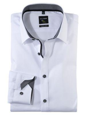 Camicia olymp in cotone stretch bianca super slim fit