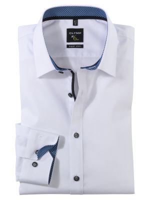 White stretch cotton shirt olymp super slim fit