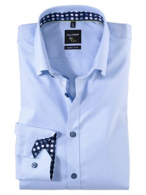 Camicia slim fit celeste olymp in cotone operato stretch