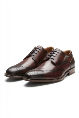 Elegant brown digel derby shoe in real leather