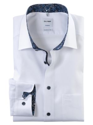 White olymp modern fit cotton shirt easy ironing