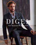 Digel jacket in mixed blue plaid viscous wool