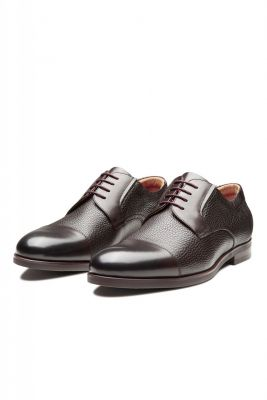 Brown digel derby shoe in real leather
