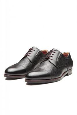 Black derby shoe digel in real leather