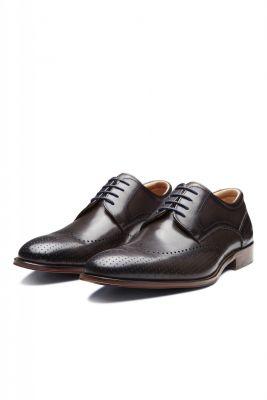 Elegant dark grey English derby shoe digel in real leather