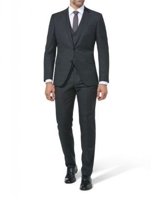 Black digel drop six modern fit dress with reda wool waistcoat 110's