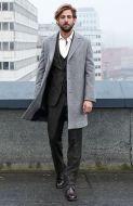 Cappotto spigato grigio chiaro digel