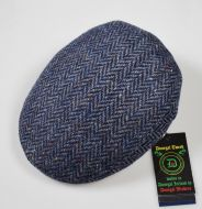 Blue breading cap with donegal tweed wool