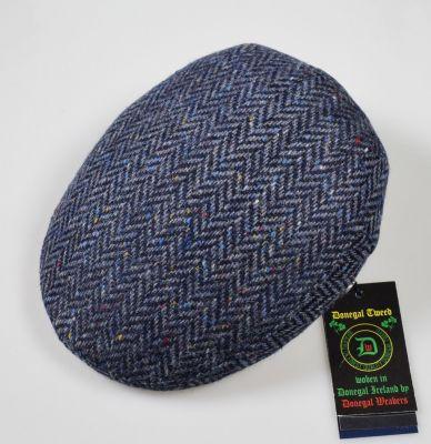 Berretto panizza blu a spiga lana donegal tweed