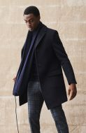 Cappotto slim fit nero digel misto lana
