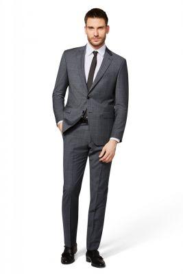Grey checked digel dress in pure drop wool six modern fit