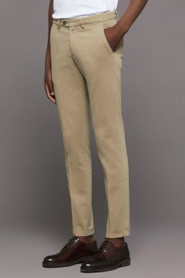 Bsettecento slim fit stretch cotton trousers made in Italy