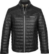 Black milestone jacket in quilted leather with one hundred gram padding