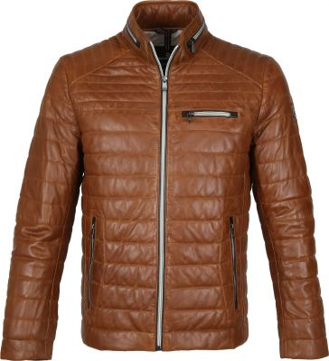 Milestone cognac sports jacket in quilted leather