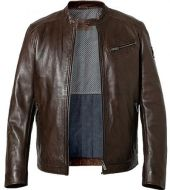 Modern fit leather brown milestone jacket