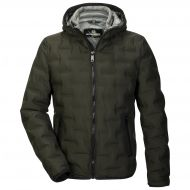 Green down jacket with milestone hood
