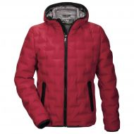Red men's fashion down jacket with milestone hood