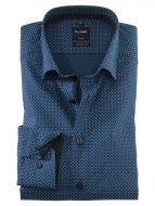 Olymp shirt neck button down modern fit blue cotton printed