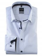 Camicia olymp collo button down modern fit bianca cotone stampato