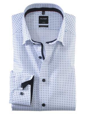 Camicia olymp collo button down modern fit bianca cotone stampato