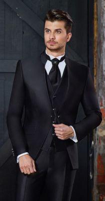 Korean baggi slim fit black groom's dress