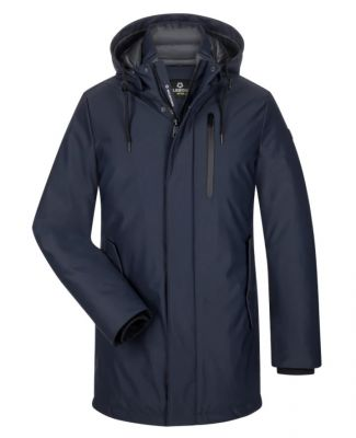Parka milestone with modern fit blue detachable hood
