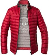 Quilted red milestone jacket in modern fit micro fiber