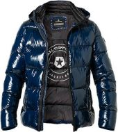 Milestone shiny down jacket in modern fit blue micro fiber