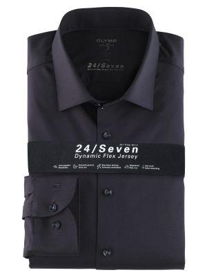 Olymp dark blue shirt level five in slim fit jersey