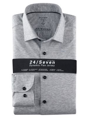 Olymp level five shirt in light grey slim fit jersey